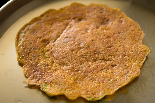 preparing cheela for veg club sandwich recipe