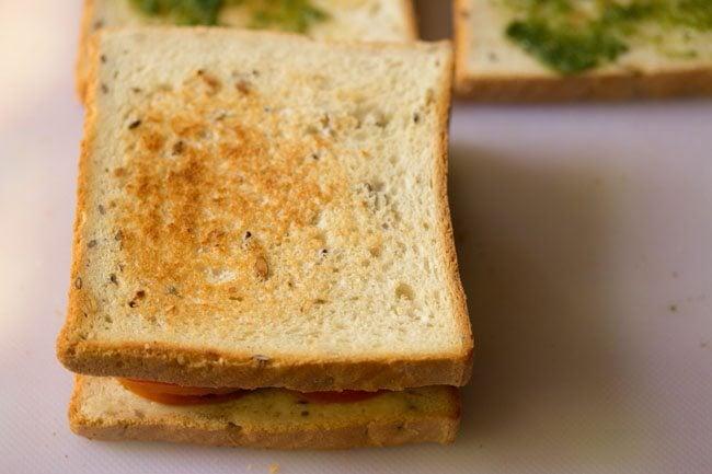 preparing veg club sandwich recipe