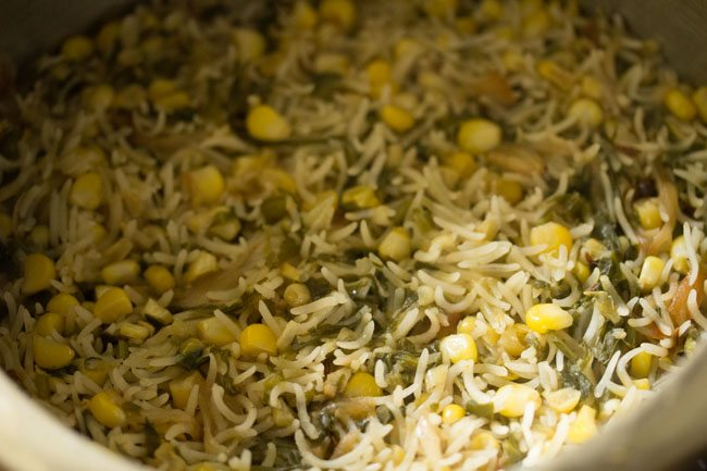 makai palak pulao recipe, corn spinach pulao recipe