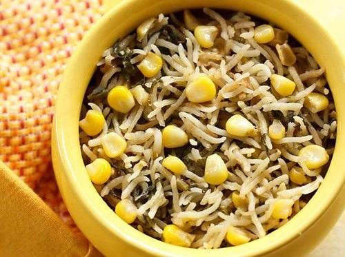 corn spinach pulao recipe