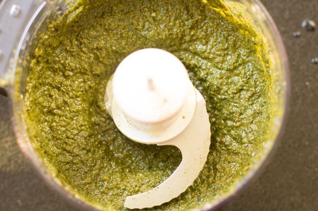 pesto sauce blended in the food chopper