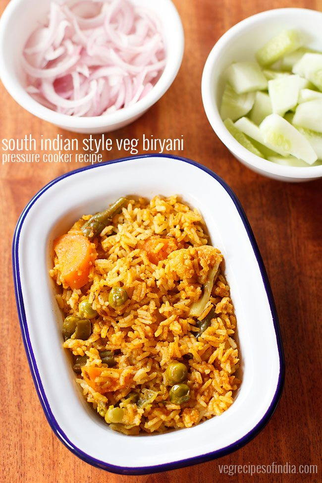 South Indian Veg Biryani Recipe Vegetable Biryani Recipe In Pressure Cooker By Veg Recipes Of India