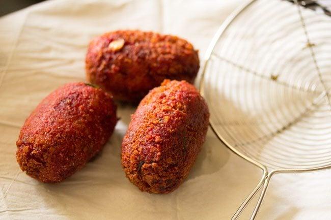 frying veg chops - bengali veg chops recipe