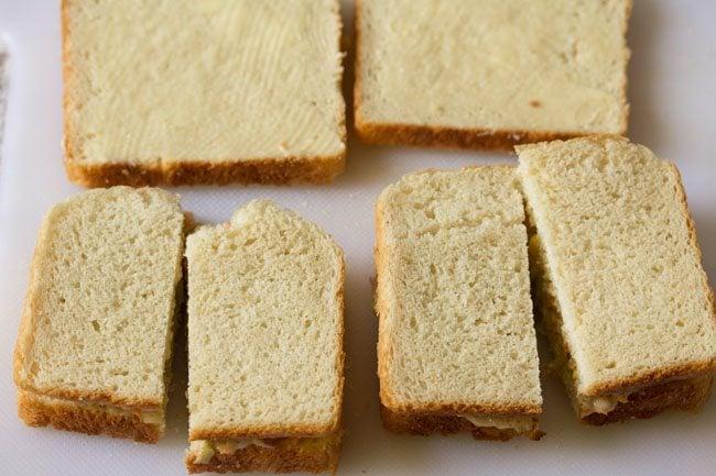 making coleslaw sandwich