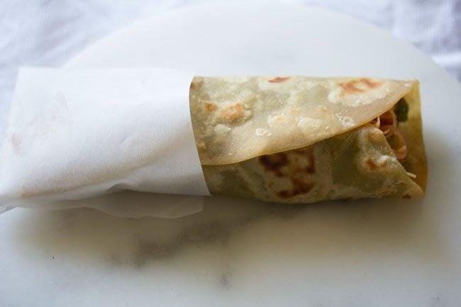 making paneer tikka wrap recipe