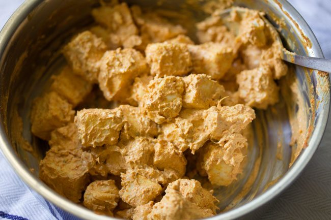 paneer marination for making paneer tikka wrap recipe