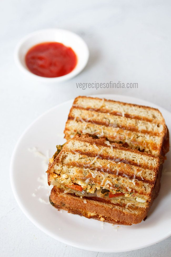 grilled paneer sandwich recipe
