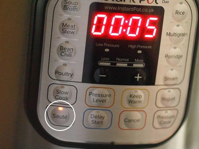 press the sauté button of instant pot