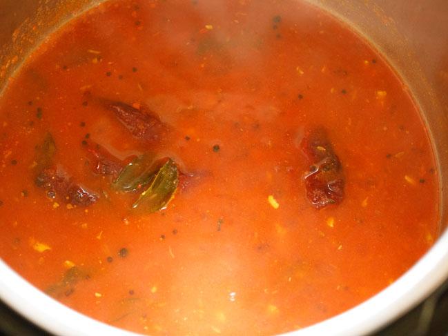 cooked tomato rasam in instant pot