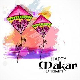 vector image showing two colorful kites signifying makar sankranti festival
