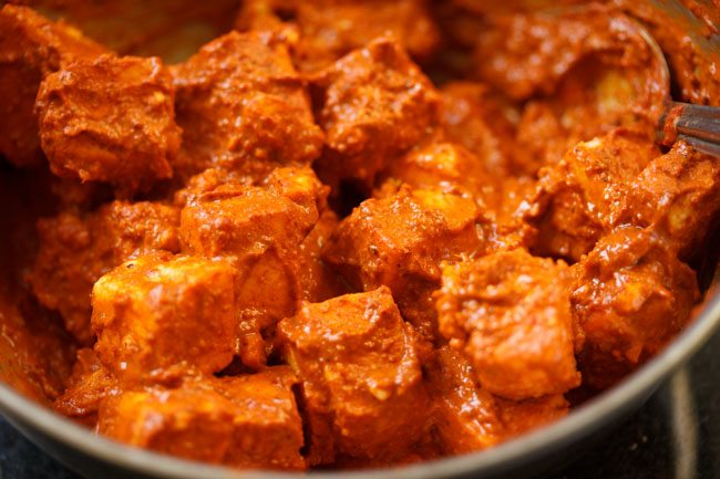 marinated paneer for making paneer ghee roast recipe