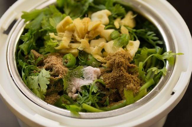 herbs for making paneer kathi roll recipe