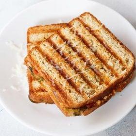 paneer sandwich recipe, indian style tasty grilled paneer sandwich recipe