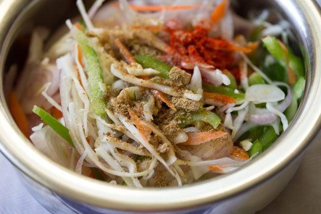 veggies for preparing paneer kathi roll recipe