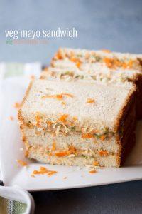 mayonnaise sandwich recipe, how to make veg mayonnaise sandwich