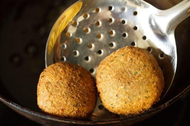frying falafel - herb falafel recipe