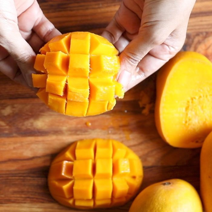 flesh on mangoes slices chopped in cubes