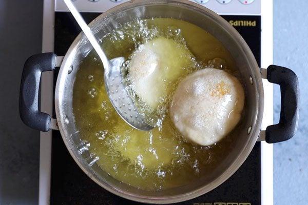 frying moong dal kachori