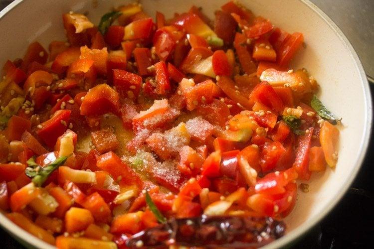 red capsicum for preparing capsicum chutney recipe