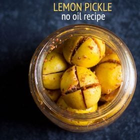 lemon pickle in a glass jar on a blue board