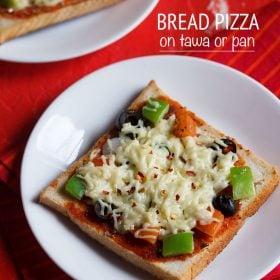 bread pizza, bread pizza on tawa recipe