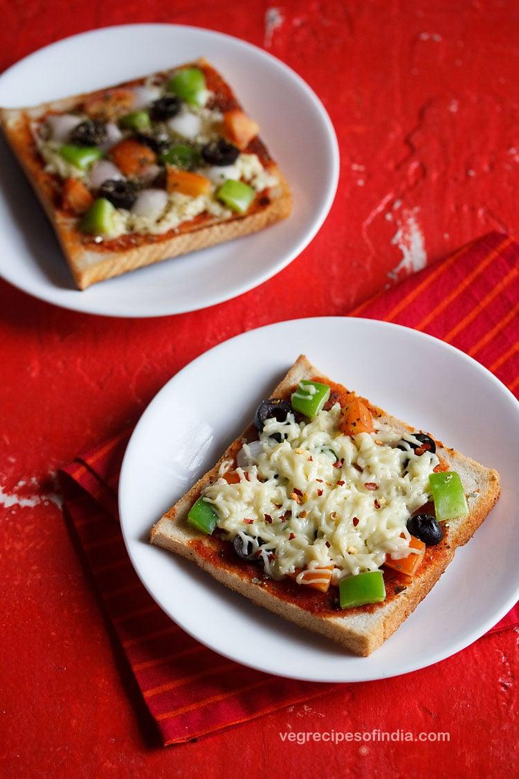 bread pizza on tawa