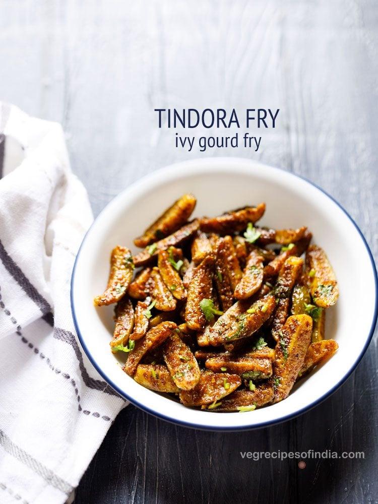 tindora fry recipe | tendli fry recipe | how to make ivy gourd stir fry recipe