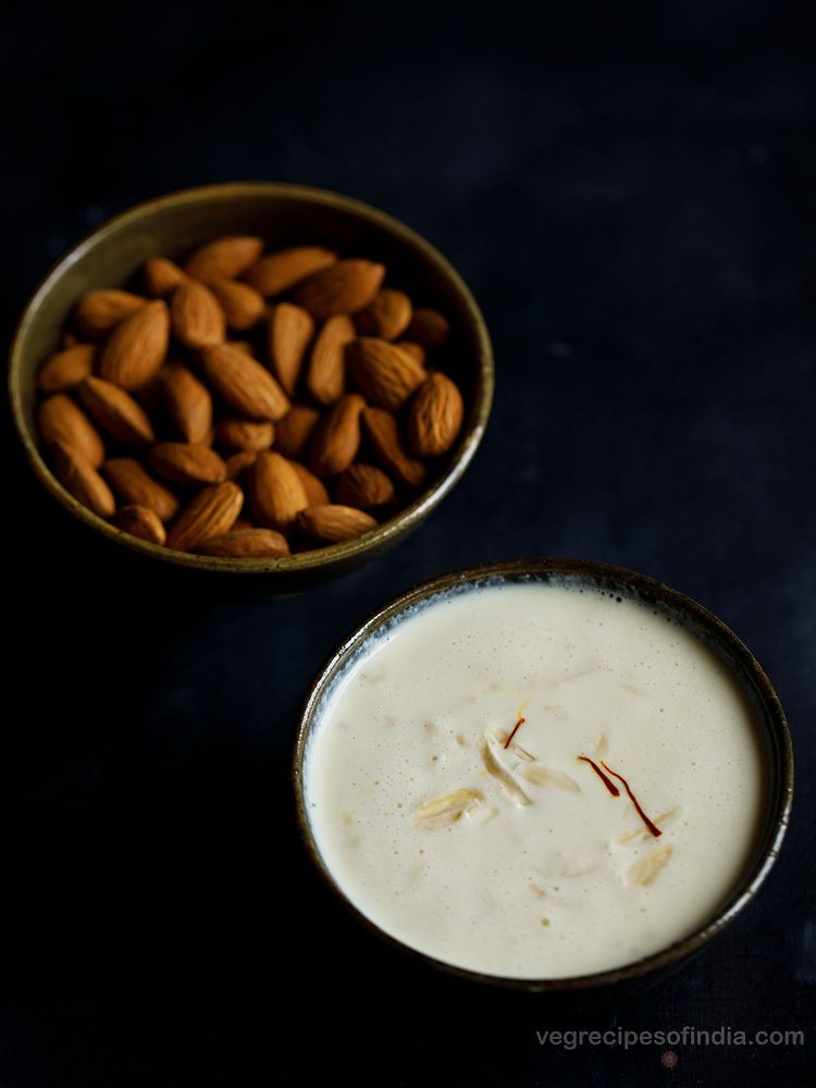 badam kheer recipe, badam kheer, badam ki kheer recipe, almond payasam recipe