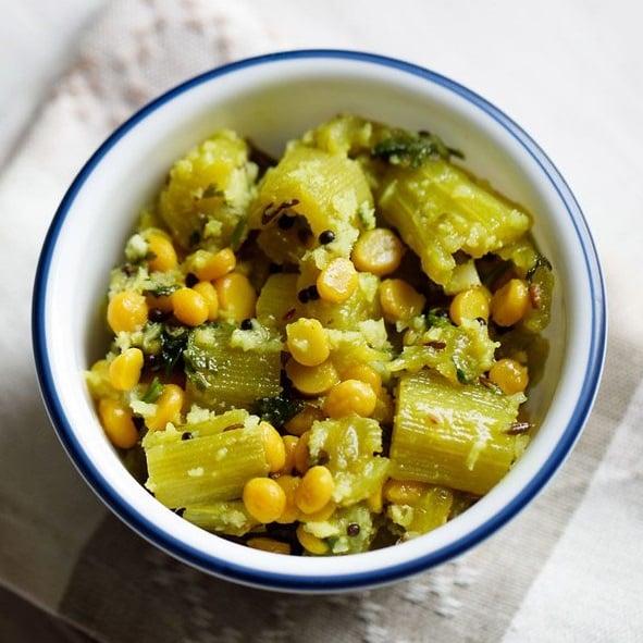 snake gourd recipe, padwal sabzi recipe, chana dal snake gourd recipe