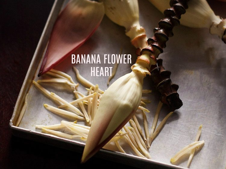 how to clean and cut banana flower