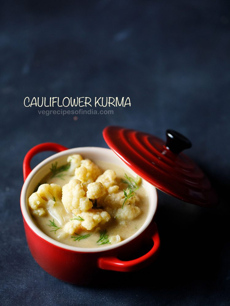 top shot of cauliflower kurma in a red bowl with a red lid slightly tilted at the side of bowl with a text layover