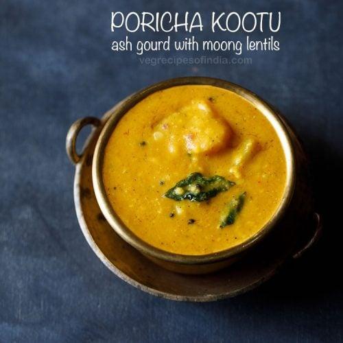 poricha kootu recipe, poosanikai kootu recipe, white pumpkin kootu recipe
