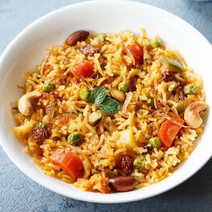 shahi pulao recipe, hyderabadi shahi veg pulao recipe