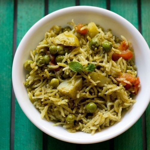 pudina rice recipe, mint rice recipe, pudina pulao recipe