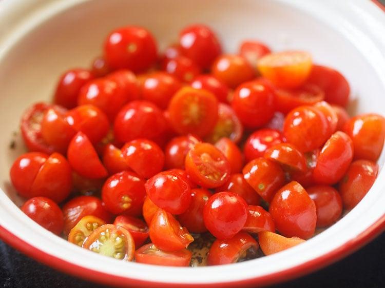 making cherry tomato salad