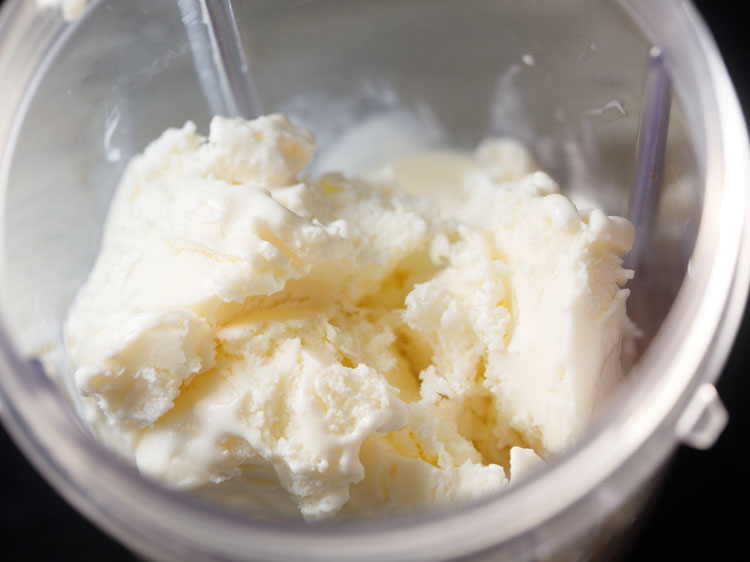 vanilla ice cream in a blender jar