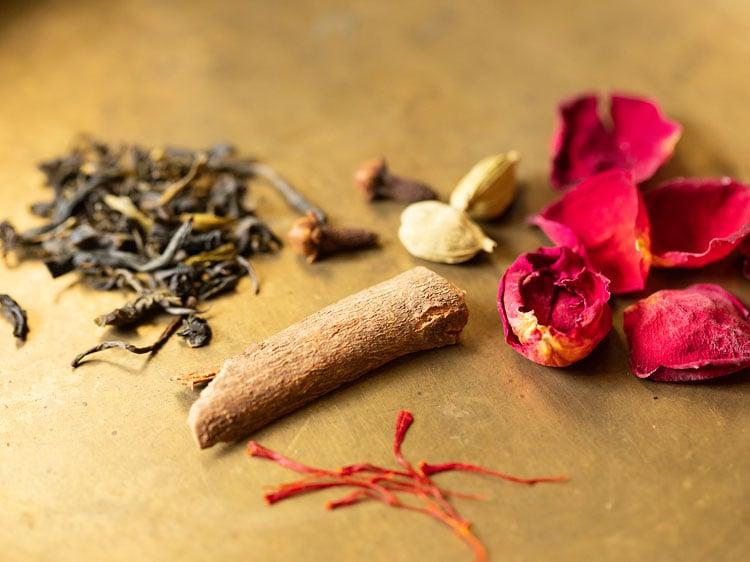 spices, saffron, rose petals for kahwa