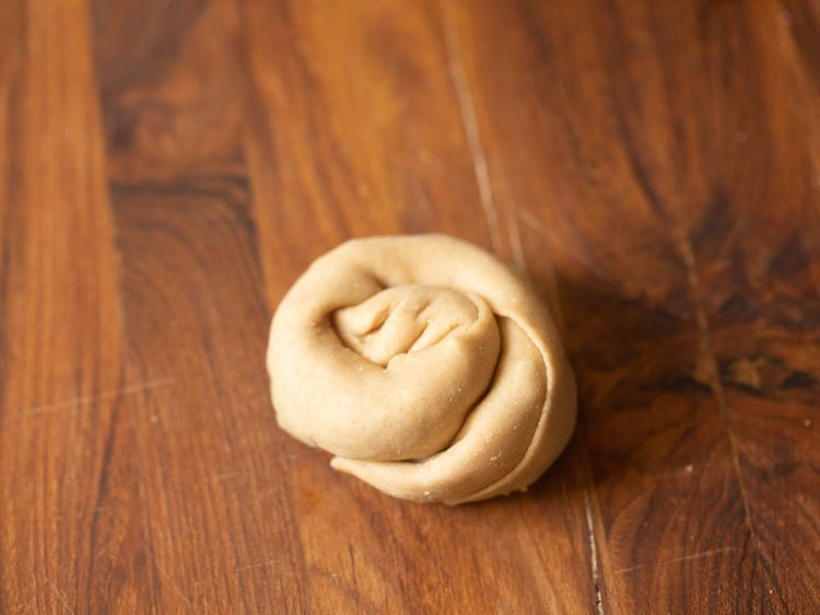 dough rolled tightly into a spiral