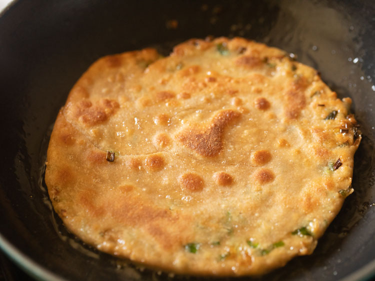 scallion pancake flipped again