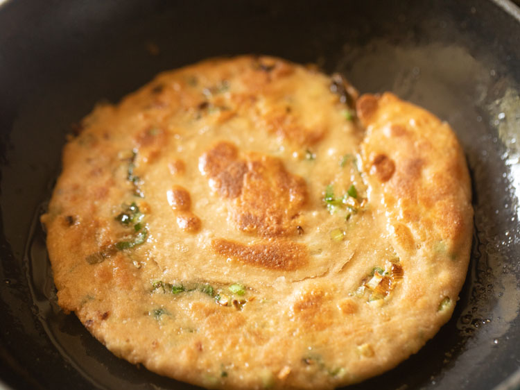 scallion pancake cooked flipped once or twice