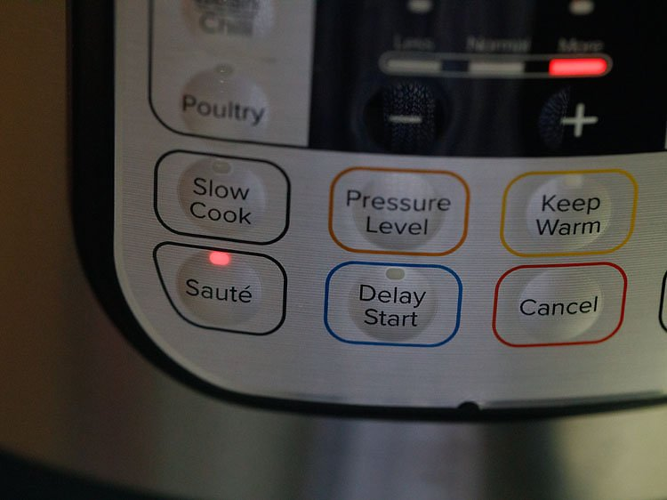 press sauté button and set time to 4 or 5 minutes