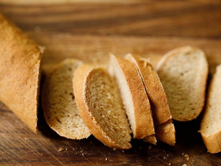 baguette being sliced