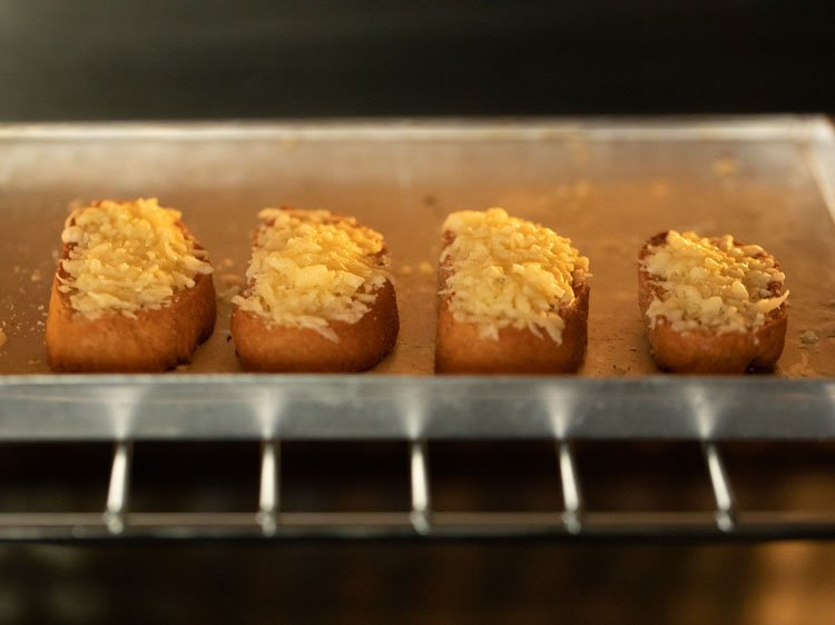 baguette slices in the oven