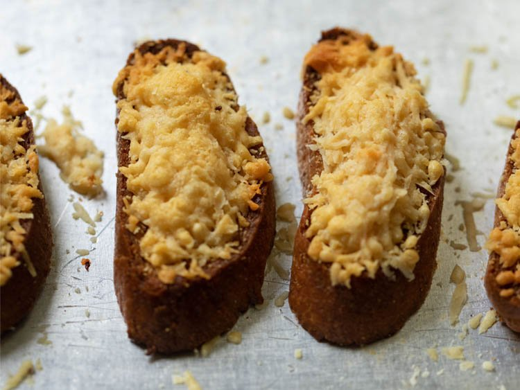 baguette slices with cheese melted on top