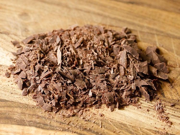 chopped chocolate on chopping board