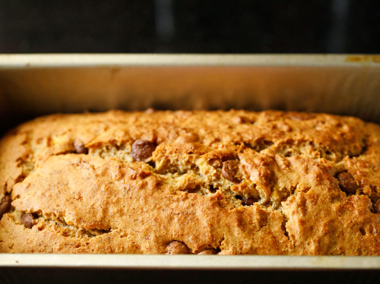 chocolate chip banana bread is baked