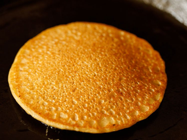 pancake flipped and second side being cooked