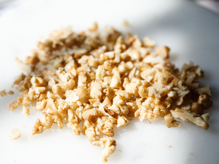 chopped walnuts in a tray