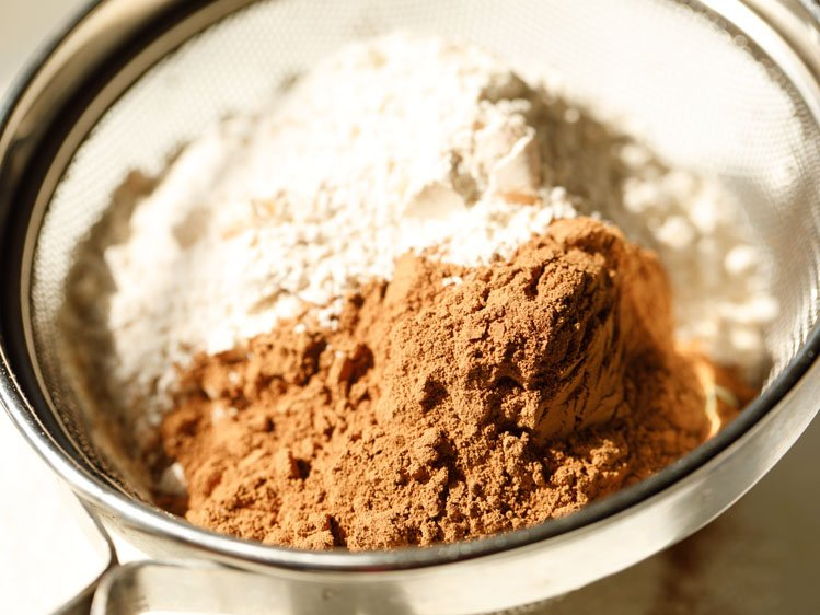 1.25 cups whole wheat flour and ¼ cup cocoa powder in a seive