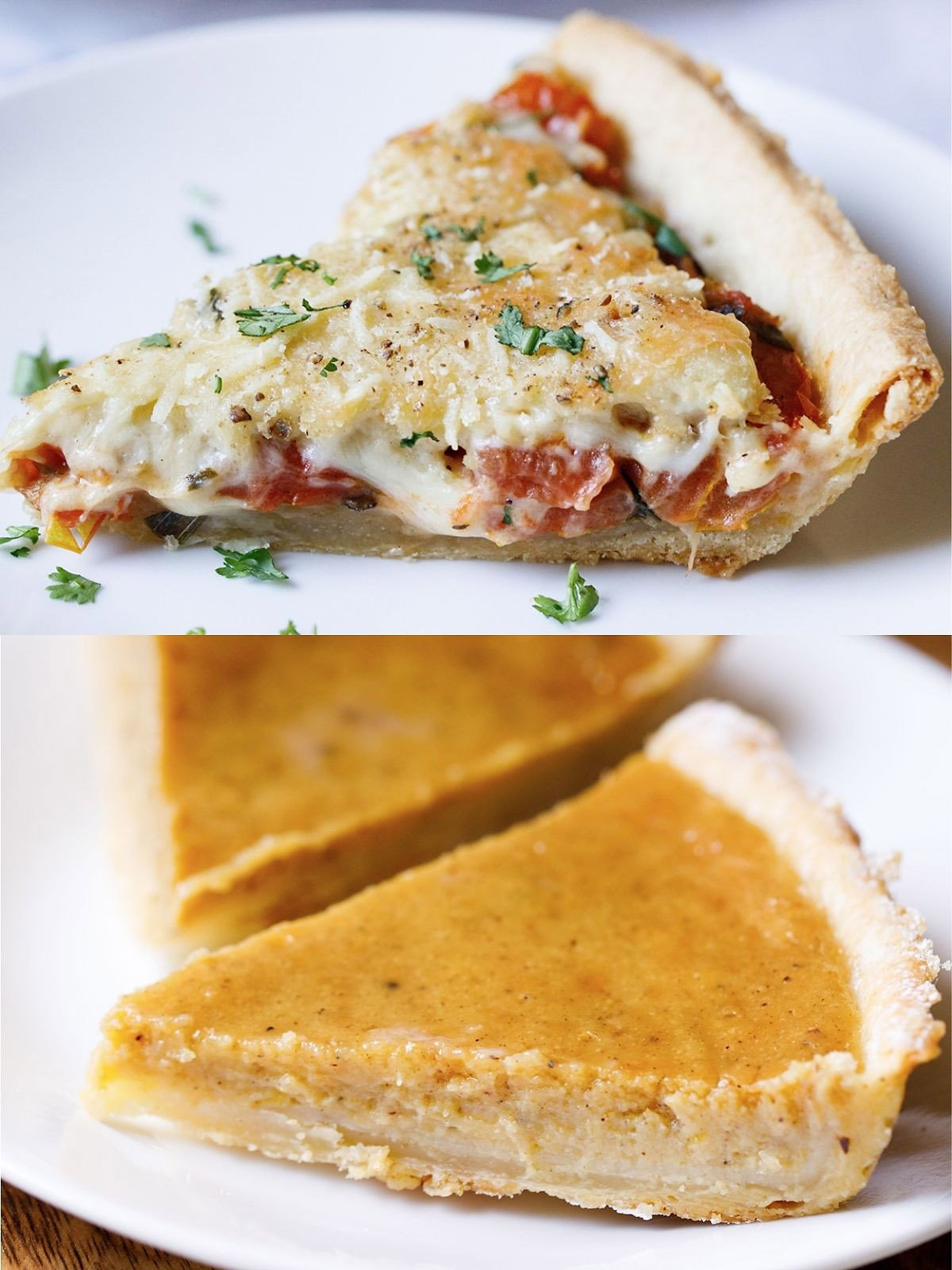 all butter flaky pie crust recipe in two separate applications - the top photograph is a slice of a savory tomato and cheese pie, while the bottom is a picture of several slices of a sweet pumpkin pie